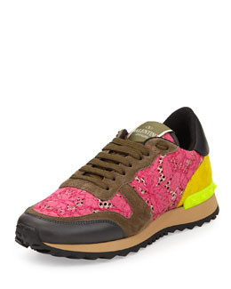 Valentino Lace and Suede Stud-Trim Sneaker, Fuchsia/Yellow