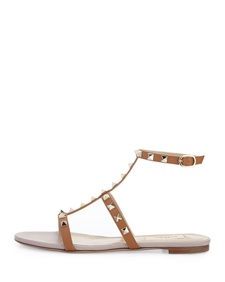 Rockstud Single-Wrap Gladiator Sandal, Cuir