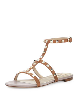 Valentino Rockstud Single-Wrap Gladiator Sandal, Cuir