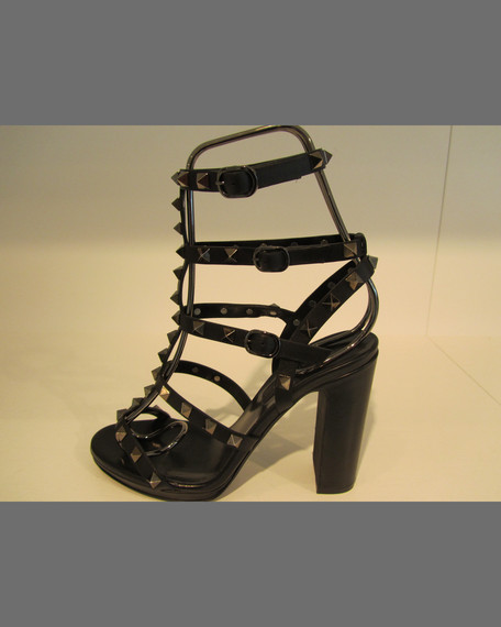 Rockstud Low-Heel Cage Sandal, Black