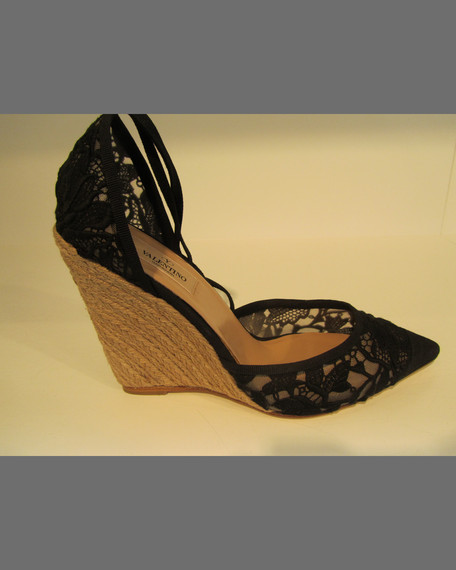 Lace Point-Toe Espadrille Wedge Pump, Black
