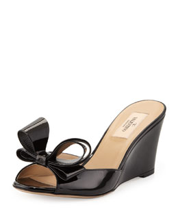 Valentino Couture Bow Patent Wedge Slide Sandal, Black