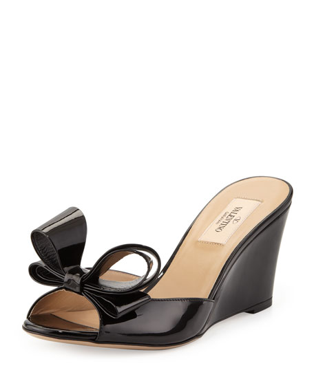 Couture Bow Patent Wedge Slide Sandal, Black