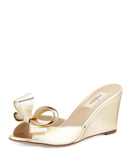 Valentino Couture Metallic Bow Wedge Slide, Platino