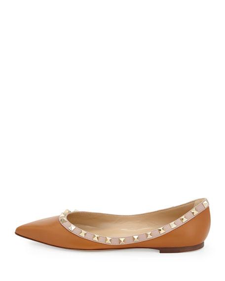 Rockstud Leather Ballerina Flat, Cuir