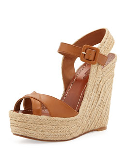 Valentino Crisscross Leather Espadrille Wedge