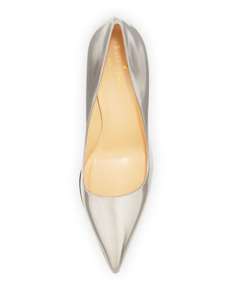 licorice mirrored pointy pump, pewter