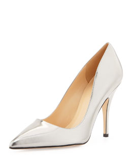 kate spade new york licorice mirrored pointy pump, pewter