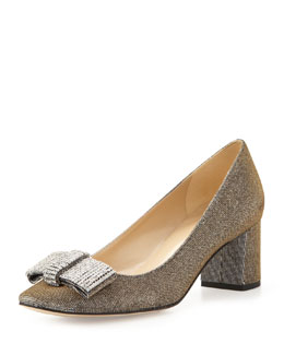 kate spade new york dina glitter bow pump, bronze