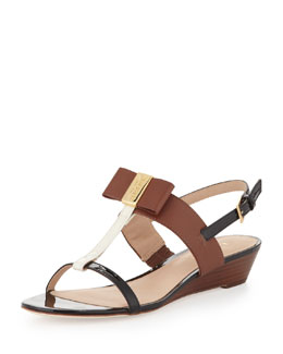 kate spade new york vinny colorblock bow sandal, multi