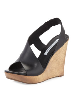 Diane von Furstenberg Sunny Cutaway Leather Wedge, Black