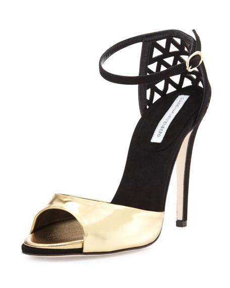 Rowan Metallic & Suede Sandal, Gold