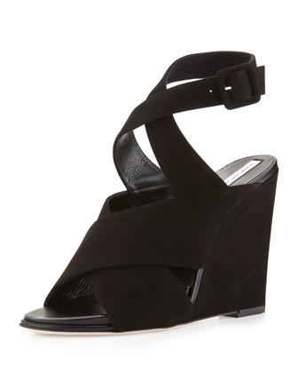 Diane von Furstenberg Wynne Crisscross Ankle-Wrap Wedge, Black