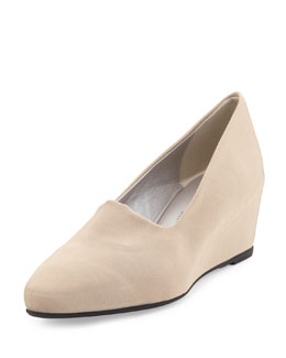 Aquatalia Pride Stretch Fabric Wedge, Taupe