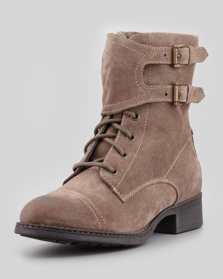 Against the Clock Suede Bootie, Taupe