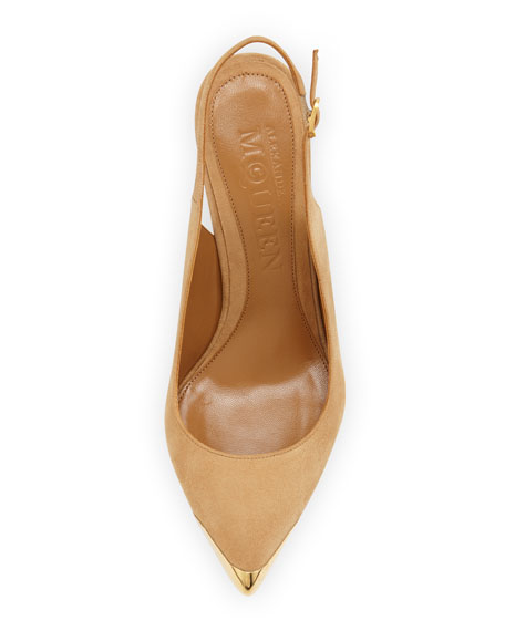 Metal-Tipped Pointed-Toe Slingback, Beige