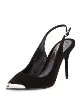Alexander McQueen Metal-Tipped Pointed-Toe Slingback, Black
