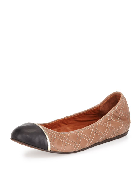 Quilted Cap-Toe Ballerina Flat, Beige