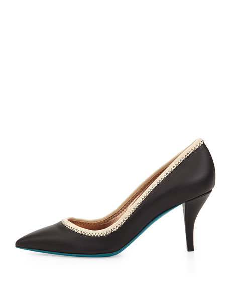 Contrast-Collar Leather Pump