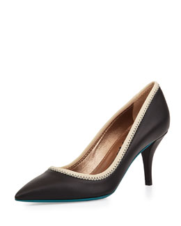 Lanvin Contrast-Collar Leather Pump