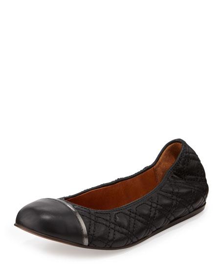 Quilted Cap-Toe Ballerina Flat, Black