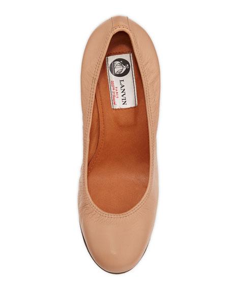 Ballerina Leather Wedge Pump, Beige