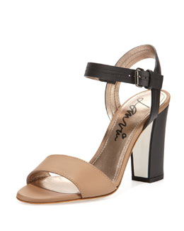 Lanvin Two-Tone Leather Sandal, Black