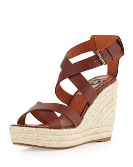 Lanvin Leather Espadrille Wedge Sandal, Brown