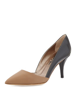 Lanvin Two-Tone Pointed Combo Pump, Black/Nude