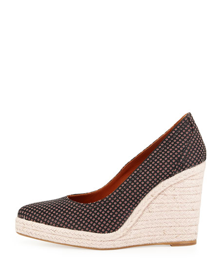 Patterned Espadrille Wedge Pump