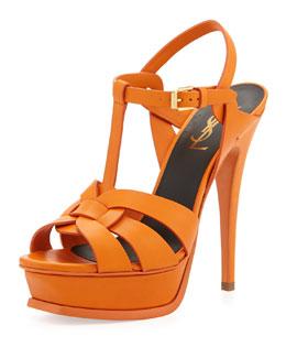 Saint Laurent Tribute Leather Platform Sandal, Orange