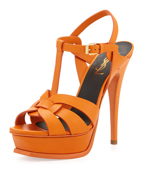 Tribute Leather Platform Sandal, Orange