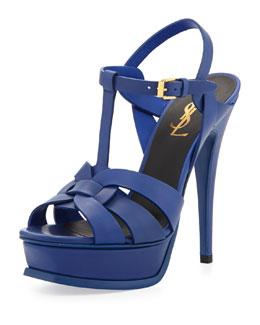 Saint Laurent Tribute Leather Platform Sandal, Blue