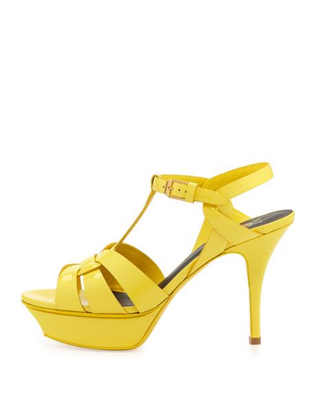 Tribute Mid-Heel Patent Platform Sandal, Yellow