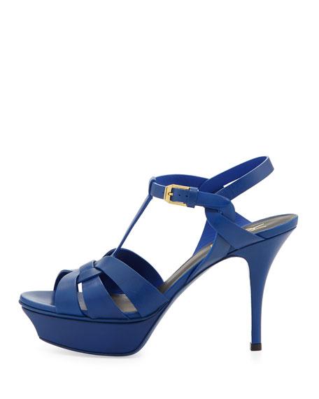 Tribute Mid-Heel Leather Platform Sandal, Blue