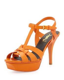 Saint Laurent Tribute Mid-Heel Leather Platform Sandal, Orange