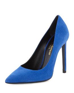 Saint Laurent Paris Suede Pointed-Toe Pump, Blue