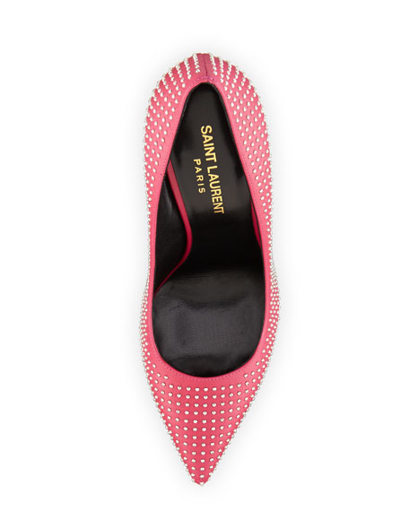 Paris Studded Pointed-Toe Pump, Pink/Silver