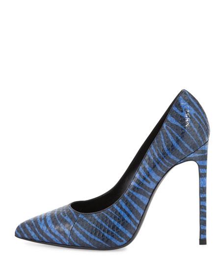 Paris Striped Snake Pump, Blue/Black