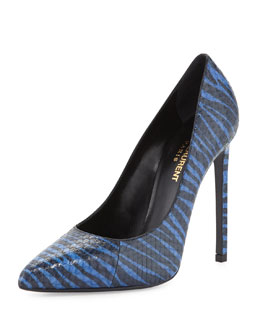 Saint Laurent Paris Striped Snake Pump, Blue/Black