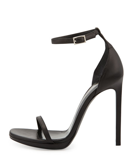 Jane Leather Ankle-Wrap Sandal, Black