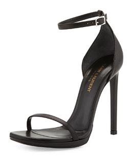 Saint Laurent Jane Leather Ankle-Wrap Sandal, Black
