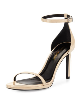 Saint Laurent Jane Calfskin Sandal, Nude