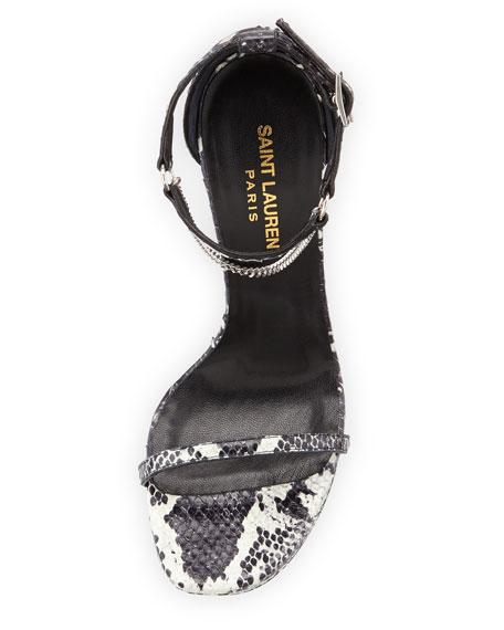 Jane Python Chain-Trim Sandal