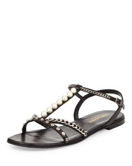 Saint Laurent Alice Embellished Flat Sandal