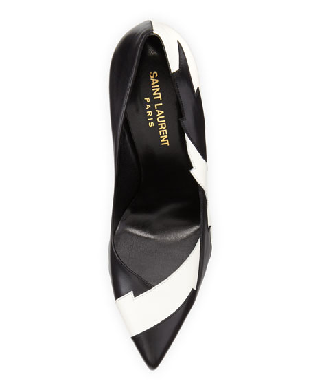 Paris Lightning Leather Pump, Black/White