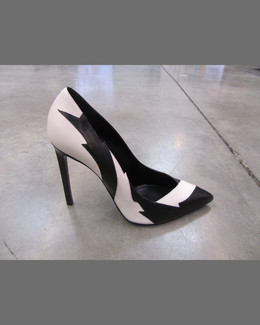 Saint Laurent Paris Lightning Leather Pump, Black/White