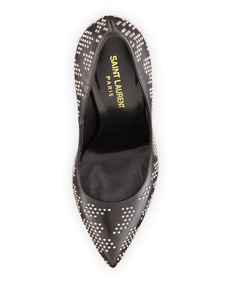 Janis Studded Leather Pump, Black/Silver