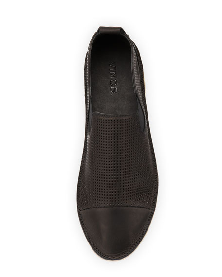 Iona Perforated Leather Loafer, Black