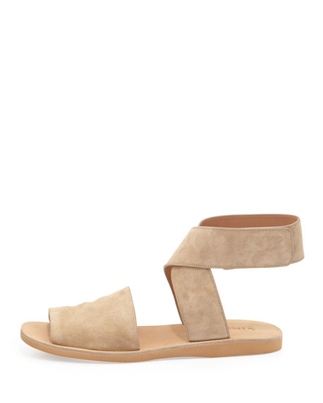 Sabine Leather Ankle-Wrap Sandal, Taupe